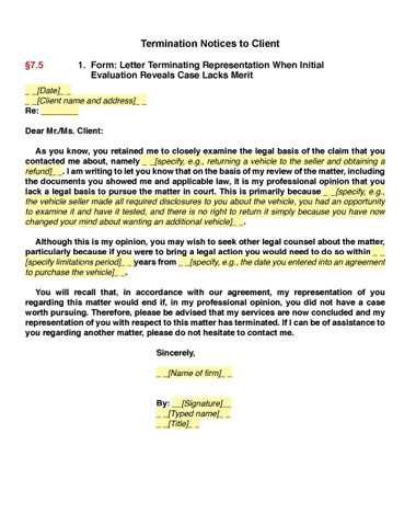 sample termination letter for therapy clients