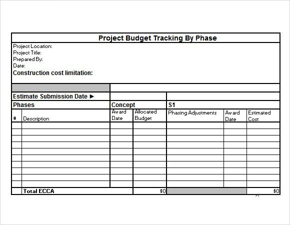 project budget sample excel