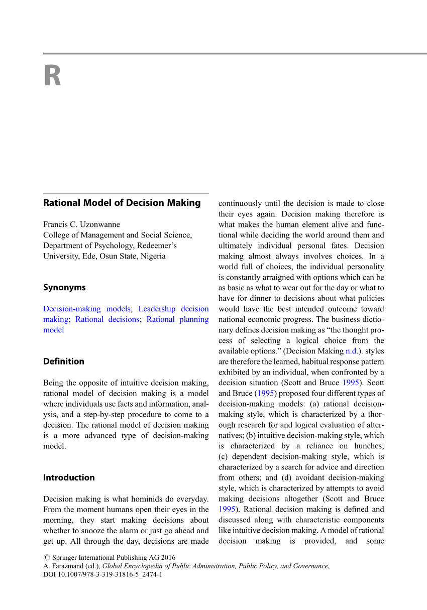 models of policy making pdf
