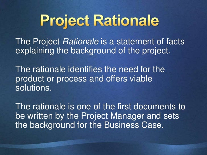 rationale sample for project proposal